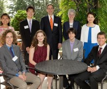 Honored for their academic achievement, pictured with President Christopher L. Eisgruber (standing at center) and Dean of the College Jill Dolan (standing second from right), are, standing from left, Saisai Chen, Kevin Sun and Lydia Liu, and, seated from left, Kyle Berlin, Cameron Platt, Yuval Wigderson and Vladimir Feinberg. (Photo by Denise Applewhite, Office of Communications)