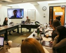 During their Skype discussion with Witte, students questioned him about European fears regarding migrants and terrorism, the increasing number of women and children who are joining the migrant flow, and the impact a changing political scene within Europe is having on the EU's ability to address the migrant crisis.