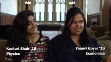 Kasturi Shah '16 and Vaasvi Goyal '16. Photo courtesy of the Office of Communications.