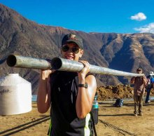 In one EWB project, Will Guiracoche, now a junior, helped carry pipes up a mountain to install a system for delivering fresh water to the town of La Pitajaya in the summer of 2014.