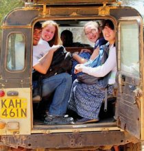 Students in Princeton's Global Health Program pursue a wide range of opportunities, such as participating in a summer internship in the United States or abroad, taking health-related courses, finding support for health-related thesis research, and getting involved with on-campus activities related to global health. Above, Princeton students catch a ride at the Mpala Research Center in Laikipia County, Kenya. Global health certificate student Alex Wheatley (second from right) was part of an internship progra