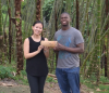 Princeton seniors Lu Lu and Russell Archer in Colombia. Video still from Blake Hamilton, Office of Communications.